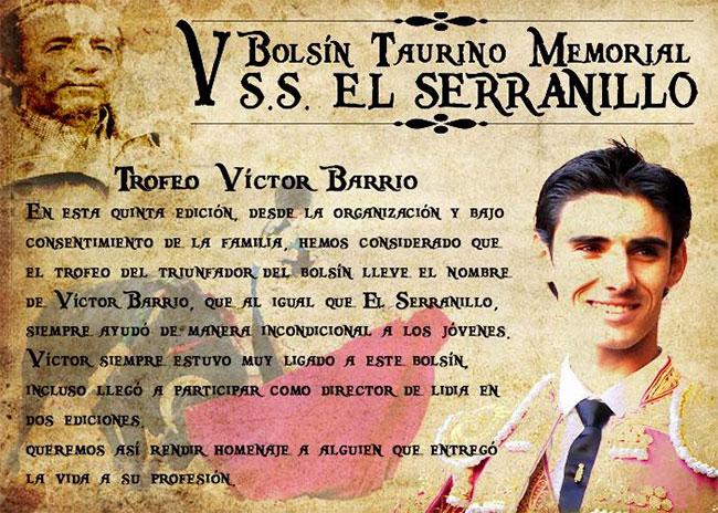 <h3  class='enlacePalabraNoticia' onclick='opcionBuscarActualidad('Víctor Barrio','')'>Víctor Barrio</h3> será homenajeado en el Bolsín Taurino