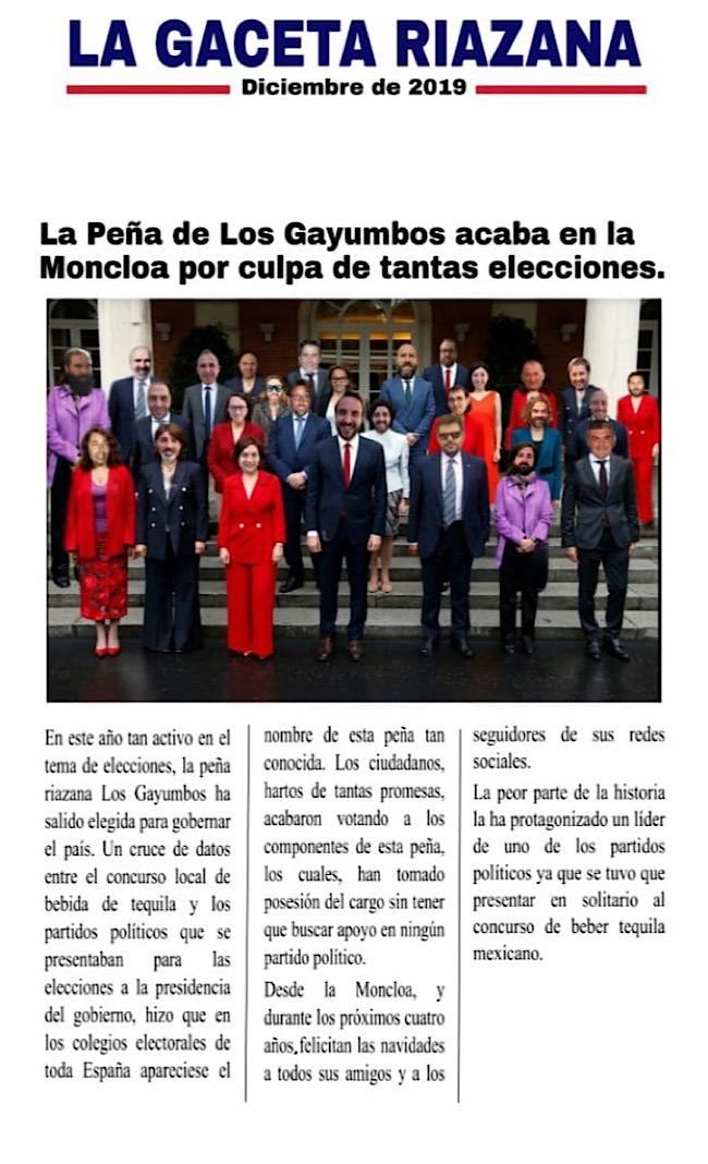 La Peña de <h3 class='enlacePalabraNoticia' onclick='opcionBuscarActualidad('Los Gayumbos','')' >Los Gayumbos</h3> acaba en la Moncloa por culpa de tantas elecciones